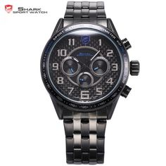 53.99$  Buy here - http://aiuc7.worlditems.win/all/product.php?id=32328925692 - Blackspot Shark Sport Watch Fashion Stainless Steel Band Calendar Blue Dial Simple Arabic Numbers Men's Quartz Watches / SH367