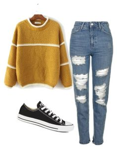 """Untitled #438"" by aaisha123 ❤ liked on Polyvore featuring Topshop and Converse"