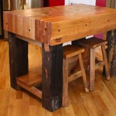 "Hardwood Blend Custom Kitchen Island by Cabeen Originals ~ currently $6999 (Yikes!) at luxeyard.com ~ ""A Real Life Paul Bunyan"""