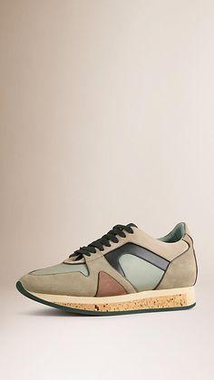Mid grey melange The Field Sneaker in Suede and Mesh - Image 1