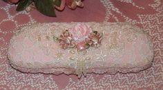 Victorian Style Pink Shabby & Chic Eyeglass Case w/ Lace Pearls Roses