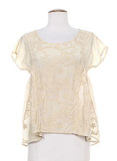 T-shirts et Tops femme de couleur beige en soldes pas cher - Modz Peplum, T Shirt, Lace, Tops, Women, Fashion, Beige Colour, Tee, Moda