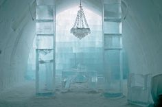 Central hall of the Ice Hotel near Kiruna. Ice Hotel Lapland, Alta Norway, Ice Hotel Sweden, Top Honeymoon Destinations, Scandinavian Architecture, Central Hall, Sweden Travel, Lappland, Train Tickets