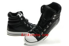 2013 New Embroidery Black Leather Converse Padded Collar Chuck Taylor All Star #High Winter Boots Outlet #sports