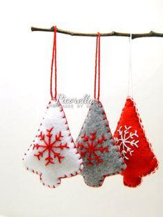 A Set of Christmas Tree Ornament // Felt Christmas by Picorella
