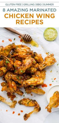 8 of the Best Chicken Wings you'll ever make! These crispy wings are must for Game Day. Buffalo, Honey BBQ, Chili Lime, Garlic Parm and more flavors! #chicken #chickenwings #appetizers #partyfood #baked #oven #glutenfree #football #appetizer #starter Best Chicken Wing Recipe, Yummy Chicken Recipes, Chicken Thigh Recipes, Yum Yum Chicken, Healthy Recipes On A Budget, Healthy Eating Recipes, Healthy Eats, Grilling Recipes, Cooking Recipes