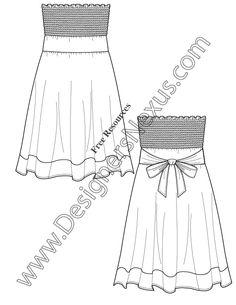V46 Strapless Smocked Sundress Flat Fashion Sketch Dress Template