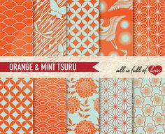 JAPANESE Digital Paper Pack Tsuru ORANGE & MINT Printable Scrapbook Backgrounds with Instant Download by AllFullOfLove on Etsy https://www.etsy.com/listing/100853974/japanese-digital-paper-pack-tsuru-orange
