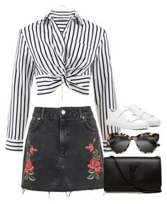 """""""Sans titre #1085"""" by nicolaisbae ❤ liked on Polyvore featuring T By Alexander Wang, Topshop, Yves Saint Laurent, Acne Studios and Eddie Borgo"""