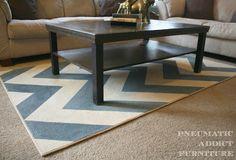 Paint a cheap rug, what an idea!! ~ DIY Chevron Rug