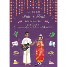 Cute And Trendy E Invitation Designs For The Intimate Weddings Illustrated Wedding Invitations, Indian Wedding Invitation Cards, Wedding Invitation Card Design, Fall Wedding Invitations, Wedding Cards, Invites, Wedding Card Design Indian, Marriage Cards, Wedding Illustration