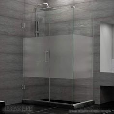 "View the DreamLine SHEN-24375340-HFR Unidoor Plus 72"" High x 38"" Wide x 34-3/8"" Deep Hinged Frameless Shower Enclosure with 22"" Door Walk In and Frosted Glass at FaucetDirect.com."
