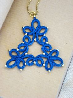 Royal blue tatted pendant//Blue tatted by MypreciousCG on Etsy