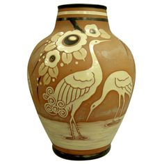 Catteau  Boch freres enameled vase with cranes circa 1939 | From a unique collection of antique and modern vases and vessels at https://www.1stdibs.com/furniture/decorative-objects/vases-vessels/