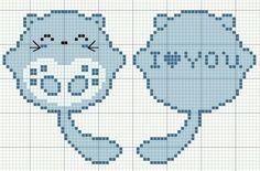gatos i love you Mini Cross Stitch, Cross Stitch Cards, Cross Stitch Animals, Cross Stitching, Cross Stitch Embroidery, Embroidery Patterns, Cross Stitch Designs, Cross Stitch Patterns, Pix Art