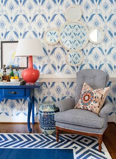 i suwannee: a raleigh sunroom - before and after Island Ikat wallpaper