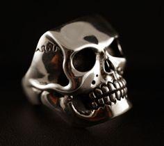 Massive silver skull ring- 44 gram!!!   handmade biker jewelry