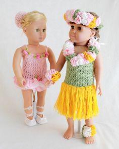 """18"""" Doll Ballerina & Hula Dancer Crochet Patterns – Maggie's Crochet ~ easy level ~ CROCHET"""