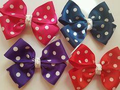 Madelienas Handmade GIRLS /WOMEN colour Double Bow Hair Clip 1x  - AU $2.20 Bow Hair Clips, Hair Ties, Kids Corner, Headbands, Bows, Colours, Purple, Girls, Handmade