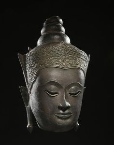 A copper alloy head of crowned Buddha Thailand, Ayutthaya period, late Sukhothai style, 17th century