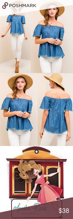Denim Off the Shoulder Blouse Details:  * Color: Denim Blue * Off The Shoulder * Baby Doll Style * Frayed Hem * 100% Cotton  Model is wearing size Small.   S: M: L:  •••••••••••••••••••••••••••••••••••••••••••  Hello! I'm Monika. I'm a Boutique Owner & Boutique Coach. Welcome to my closet!   Let's keep in touch  Instagram: @monikarosesf YouTube: MonikaRoseSF Snapchat: itsmonikarose Monika Rose SF Tops Blouses