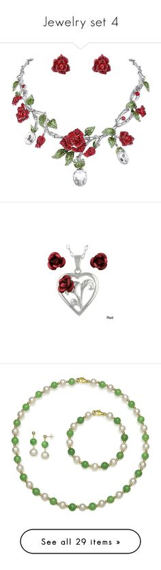 """Jewelry set 4"" by thesassystewart on Polyvore featuring jewelry, earrings, red jewelry sets, red rhinestone earrings, crystal earrings, flower earrings, crystal flower earrings, necklaces, fillers and multi"