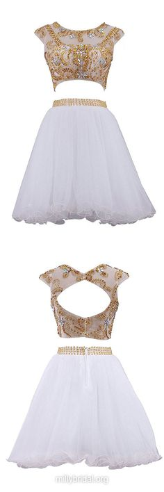 Girls White Prom Dresses, Cheap Short Homecoming Dress,A-line Scoop Neck Tulle Short/Mini Cocktail Dress,Beading Two Piece Formal Dress,Open Back Evening Gowns