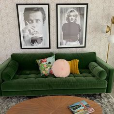 hollywood stars A true statement sofa. The Sven grass green sofa is vivid and beautiful. Featuring a tufted bench seat, plush cushions, and two matching bolsters, this green velvet sof Living Room Green, Living Room Sofa, Home Living Room, Living Room Designs, Living Room Decor, Bedroom Decor, Vintage Sofa, Vintage Velvet, Velvet Green Couch