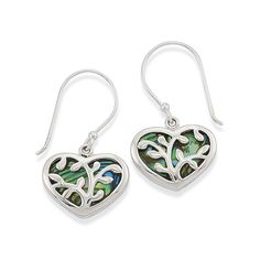 Genuine Abalone & Sterling Silver Vine Heart Earrings & Affordable Fashion Jewelry- Shop Now
