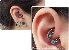 piercingbywhitney:  Double Daith with Mint Green  Artic Blue faceted gems from ANATOMETAL.