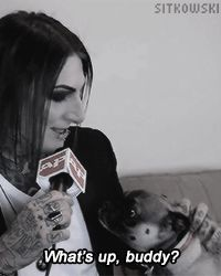 Chris + Dracula the dog= The most adorable thing I've seen all day