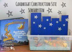 Goodnight Construction Site Sensory Bin | Enchanted Homeschooling Mom | Enchanted Homeschooling Mom