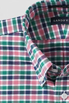 Men's Long Sleeve Traditional Fit Pattern No Iron Supima Oxford Dress Shirt from Lands' End