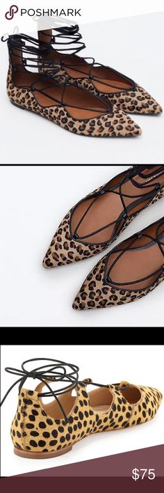 ZARA Women LEOPARD LACE UP BALLET FLATS 40/US 9 ZARA PRINTED LACE UP BALLERINAS   100% GENUINE FROM ZARA   COMPOSITION:  UPPER: 100% cow furskin  LINING: 70% polyurethane, 30% polyester  Worn for a photo shoot... excellent condition  SIZE: EUR 39, US 8, UK 6  ANY QUESTION, FEEL FREE TO CONTACT ME...  THANKS FOR LOOKING! 🙂 Zara women Shoes Flats & Loafers