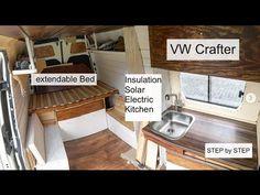 Full Van Conversion of a VW Crafter / DIY Campervan / Vanbuild for Couple + Dog Video - Uñas Coffing Maquillaje Peinados Tutoriales de cabello Camping Diy, Van Camping, Motorhome Sprinter, Camper Steps, Trailers, Diy Bar Stools, Vw Crafter, Roof Hatch, Camper Van Conversion Diy