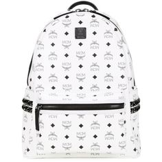 MCM Large Stark Backpack ($1,011) ❤ liked on Polyvore featuring bags, backpacks, white, mcm backpack, mcm bags, white bags, backpacks bags and rucksack bag