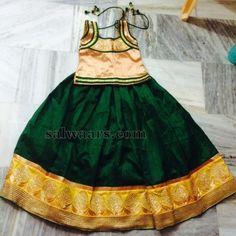 Green Semi Raw Silk Skirt - Indian Dresses