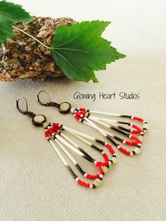 Porcupine Quill beaded earrings  cream cats by GlowingHeartStudios
