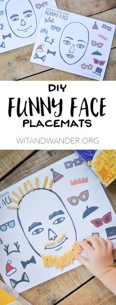 Download, print, and laminate these DIY Funny Face Placemats for Kids for a great way to encourage children to play with their food without making a huge mess. This indoor activity is the perfect way to make mealtime more fun   Wit & Wander