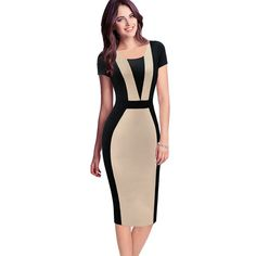 Oxiuly Womens Elegant Optical Illusion Colorblock Contrast Modest Slim Wear to Work Business Casual Party Sheath Pencil Dress. Product ID: Summer Dresses For Women, Dresses For Work, Dress Summer, Formal Dresses, Elegant Dresses, Beautiful Dresses, Mode Glamour, Bodycon Dress Parties, Party Dress