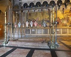 stone of anointing also call stone of unction Church of Holy Sepulchre Jerusalem