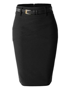 d1dce0b6a The perfect womens fitted midi skirt with faux leather belt for all your  fashion needs.