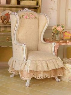 High back wing chair in peach, shabby chic for a 1:12 scale dollhouse