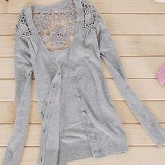 Super cute! lace backed cardigan