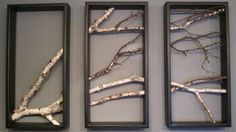 Birch, Branch, Triptych, Wall Hanging, Triptych,Original Art, Rustic, Art, Urban, Chic, Modern