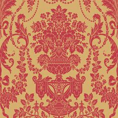 allen   roth Red Gold Damask Wallpaper