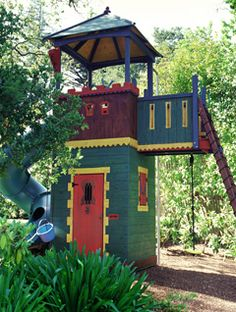Barbara Butler-Robin Hood 1 Swing: Add a Pyramid Roof-Extraordinary Play Structures for Kids<br> Playhouse Kits, Playhouse Outdoor, Wooden Playhouse, Play Structures For Kids, Outdoor Play Structures, Donut Party, House Furniture Design, Kid Furniture, Plywood Furniture