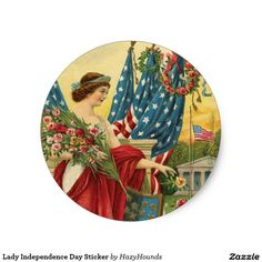 Lady Independence Day Sticker