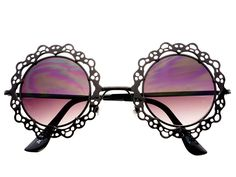 Womens Retro Vintage Black Metal Lace Round Sunglasses
