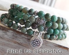 Good Luck Jade Mala Yoga Wrap Bracelet Meditation par SoulTresures